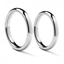 Palladium relatieringen met een klassieke 3 mm brede hoogbolle ringscheen
