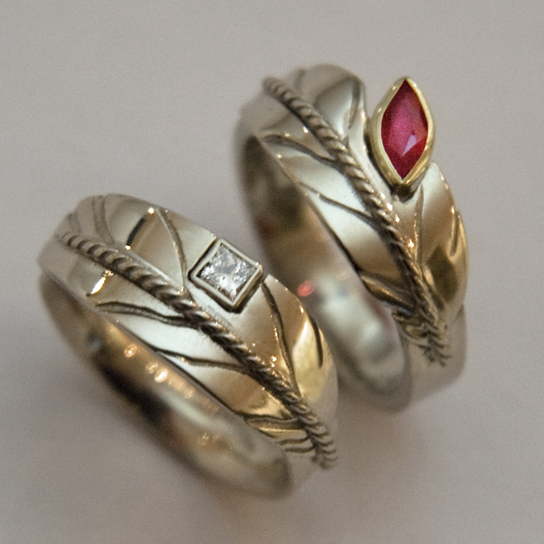 sky dreamers eagle feather wedding rings